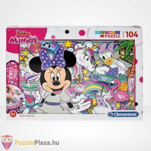 Clementoni - Supercolor Minnie egér 104 db-os csillogó ékköves puzzle