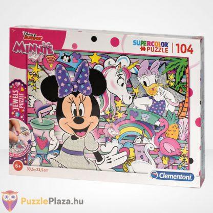 Clementoni - Supercolor Minnie egér 104 db-os csillogó ékköves puzzle balról