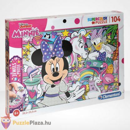 Clementoni - Supercolor Minnie egér 104 db-os csillogó ékköves puzzle jobbról