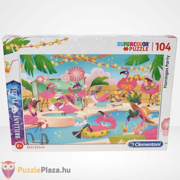 Clementoni - Supercolor Flamingó party 104 db-os ékköves puzzle