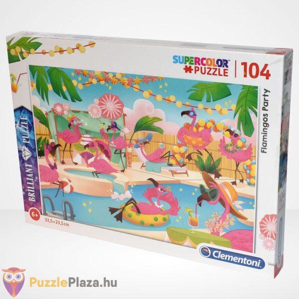 Clementoni - Supercolor Flamingó party 104 db-os ékköves puzzle balról
