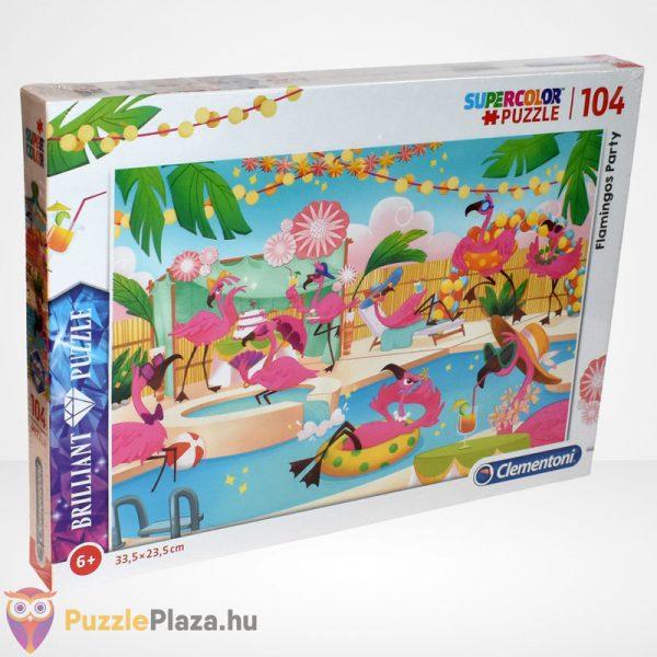 Clementoni - Supercolor Flamingó party 104 db-os ékköves puzzle jobbról