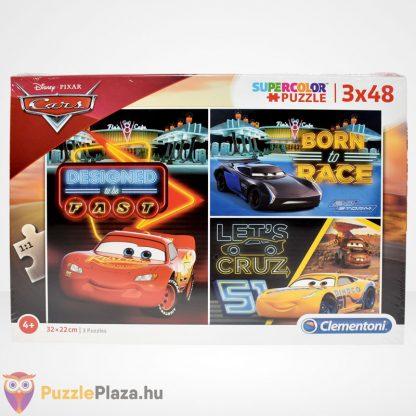 Clementoni - Verdák 3 (Cars) 3x48 db-os puzzle (Disney kirakó) szemből