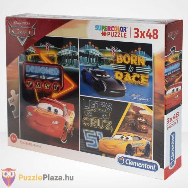 Clementoni - Verdák 3 (Cars) 3x48 db-os puzzle (Disney kirakó) balról
