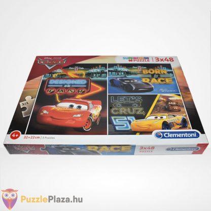 Clementoni - Verdák 3 (Cars) 3x48 db-os puzzle (Disney kirakó) felülről