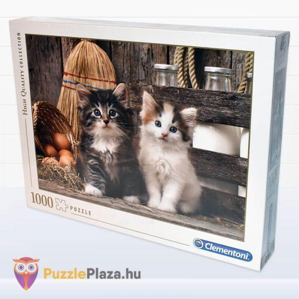 Aranyos Kiscicák Puzzle 1000 db-os. Clementoni 39340 - oldalra néző kirakó doboz