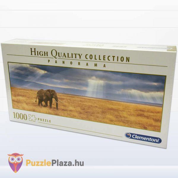 Elefánt a Szavannán Panoráma Puzzle 1000 db – Clementoni 39484 HQC doboza