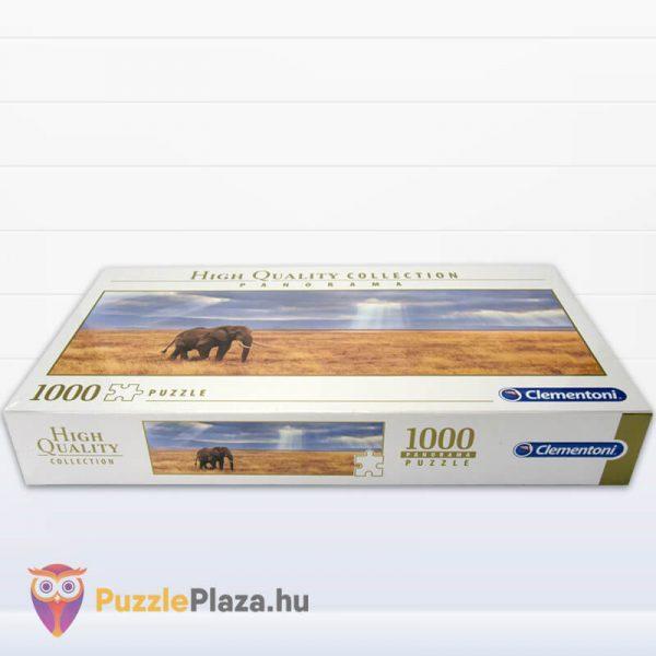 Elefánt a Szavannán Panoráma Puzzle 1000 db – Clementoni 39484 HQC doboza fektetve