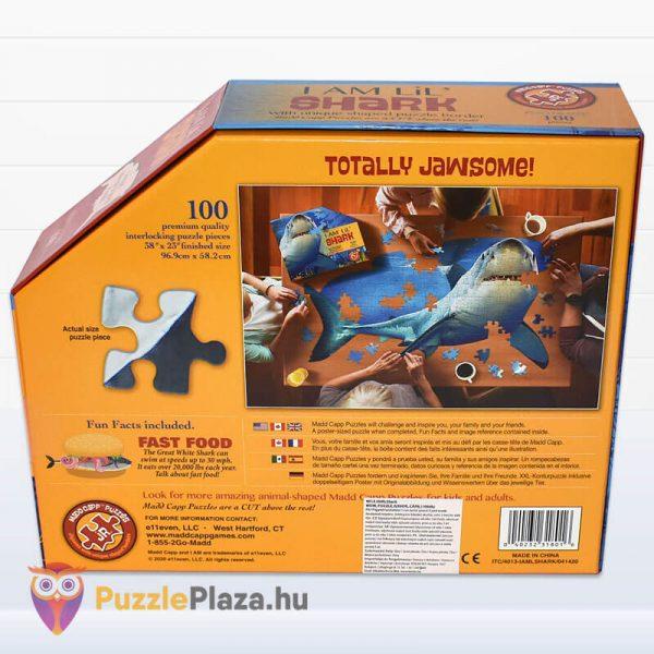 100 db-os Cápa Forma Puzzle Junior - Wow Toys doboz hátulról