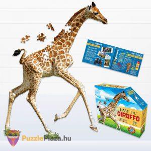 100 darabos bébi zsiráf forma puzzle junior, Wow Toys kirakott képe, posztere és doboza