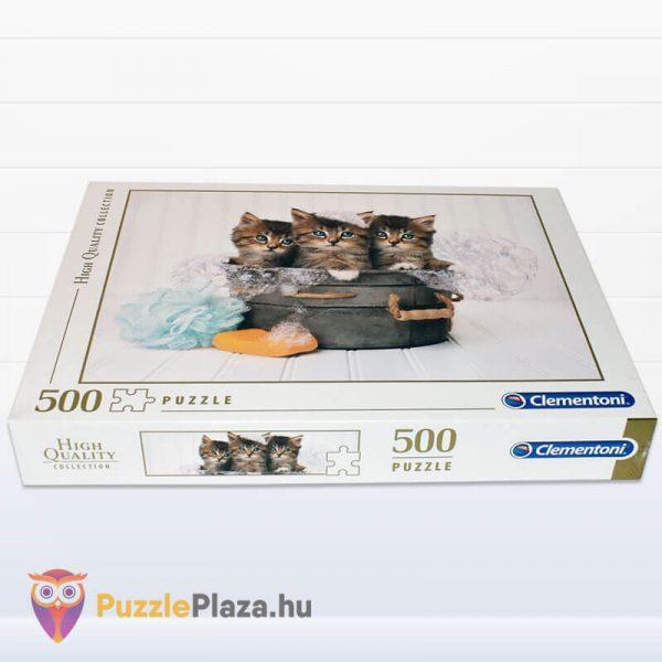 500 darabos cica puzzle (cicamosdás kirakó) - Clementoni 35065 fektetve