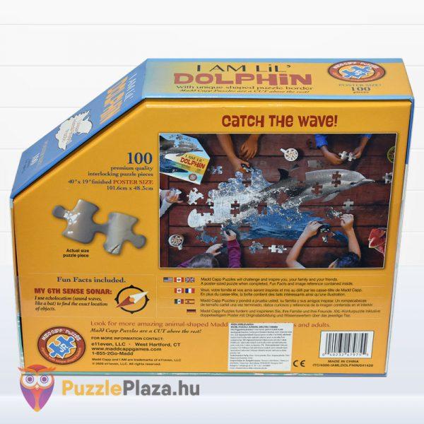 100 darabos delfin formájú puzzle, Wow Toys - hátulról