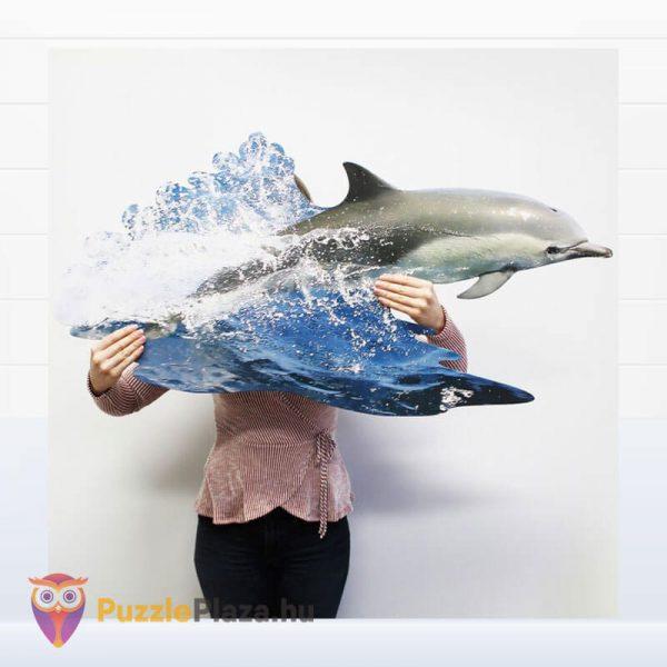 100 darabos delfin formájú puzzle, Wow Toys kirakott kép a kézben