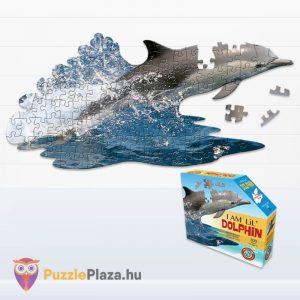100 darabos delfin formájú puzzle, Wow Toys kirakott kép és doboz