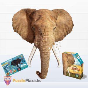 700 darabos elefánt forma puzzle, Wow Toys poszter, kirakott kép és a kirakó doboza