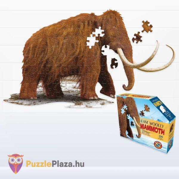 Gyapjas mamut forma puzzle junior 100 db-os kirakott képe és doboza a Wow Toys-tól
