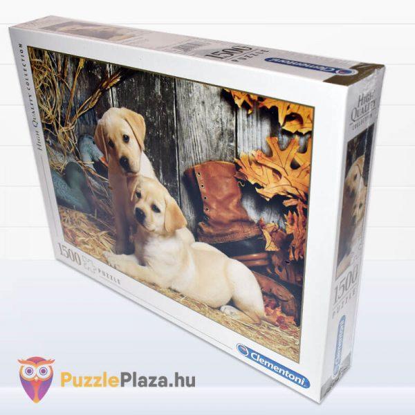 1500 darabos labdradorok puzzle. Clementoni 31976 oldalról