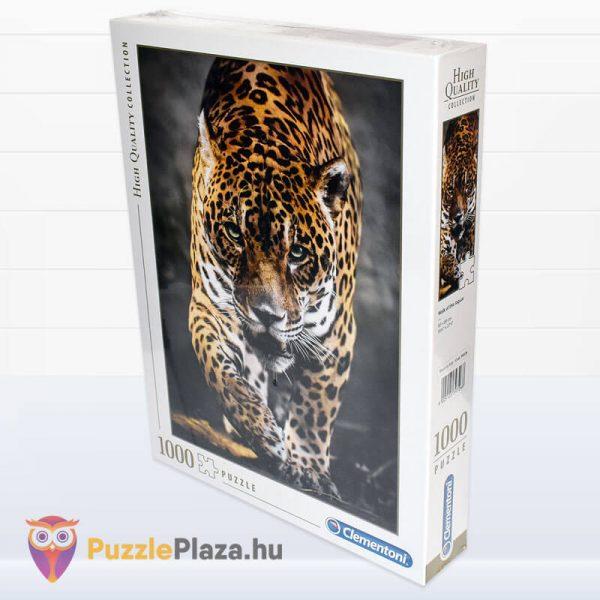 1000 darabos lesben álló jaguár puzzle, Clementoni 39326 oldalról
