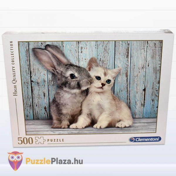 500 darabos nyuszi és cica puzzle. Clementoni 35004 előről