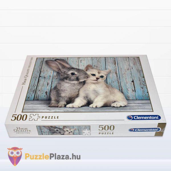 500 darabos nyuszi és cica puzzle. Clementoni 35004 fektetve