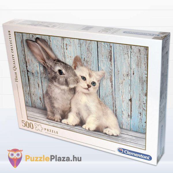 500 darabos nyuszi és cica puzzle. Clementoni 35004 oldalról