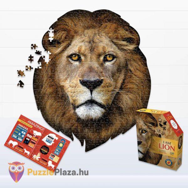 Oroszlán formájú puzzle 550 darabos, Wow Toys kirakott kép, doboz és poszter