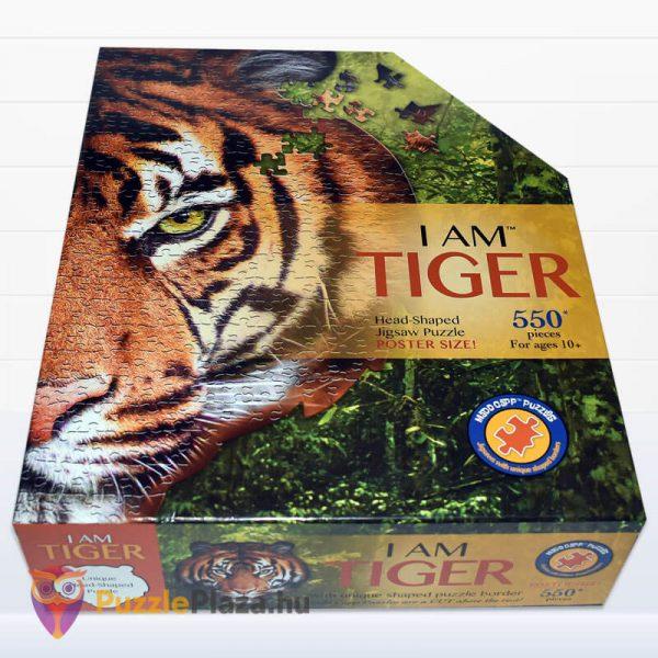 550 darabos tigris fej formájú puzzle, wow toys fektetve