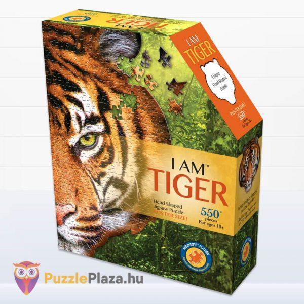 550 darabos tigris fej formájú puzzle, wow toys doboz
