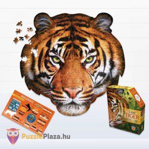 550 darabos tigris fej formájú puzzle, wow toys kirakott kép, poszter és doboz