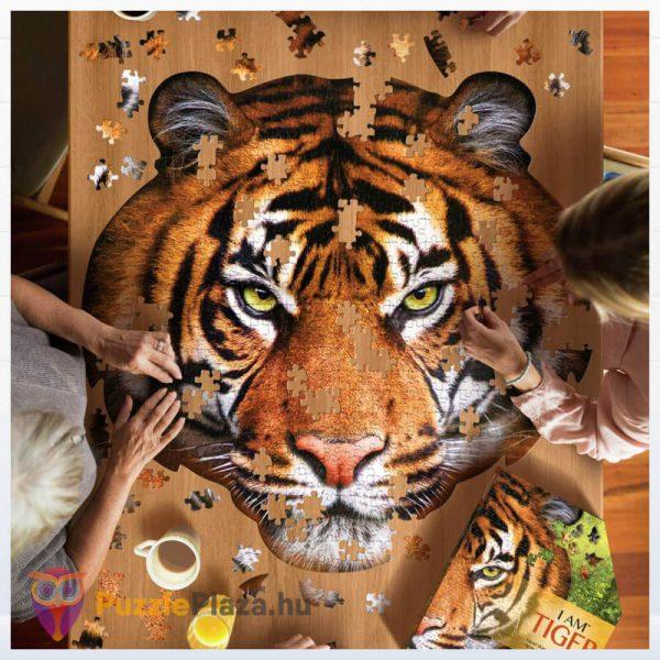 550 darabos tigris fej formájú puzzle, wow toys kirakózás közben