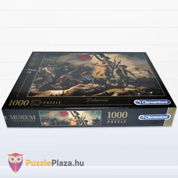 1000 darabos Delacroix - A Szabadság Vezeti a Népet Puzzle - Museum Collection - Clementoni 39549 fektetve