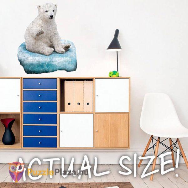 100 darabos jegesmedve formájú puzzle, wow toys kirakott kép a falon