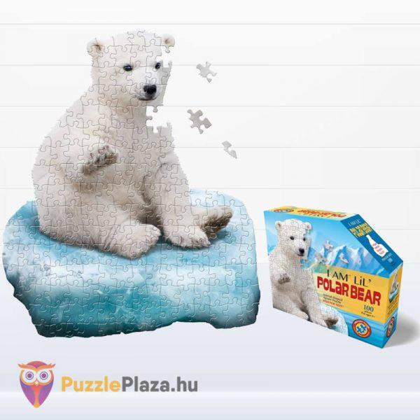 100 darabos jegesmedve formájú puzzle, wow toys - kirakott kép és kirakó doboz