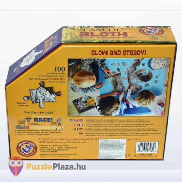 100 darabos lajhár formájú puzzle, Wow Toys - hátulról
