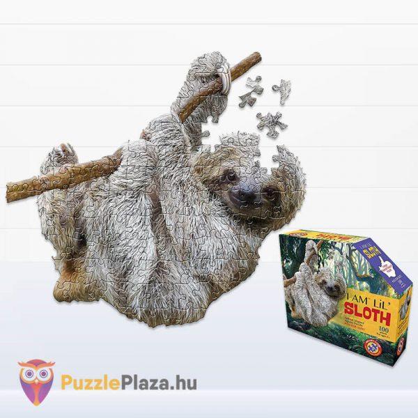 100 darabos lajhár formájú puzzle, wow toys kirakott kép és a kirakó doboz