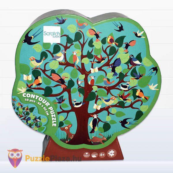 58 darabos madarak a fán forma puzzle - Scratch Europe - előről