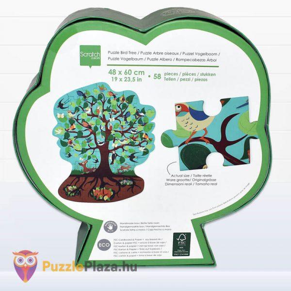 58 darabos madarak a fán forma puzzle - Scratch Europe - hátulról