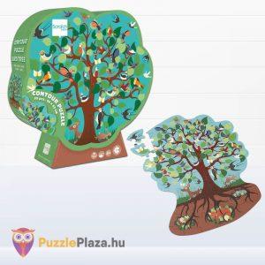58 darabos madarak a fán forma puzzle - Scratch Europe - kirakott kép és doboz