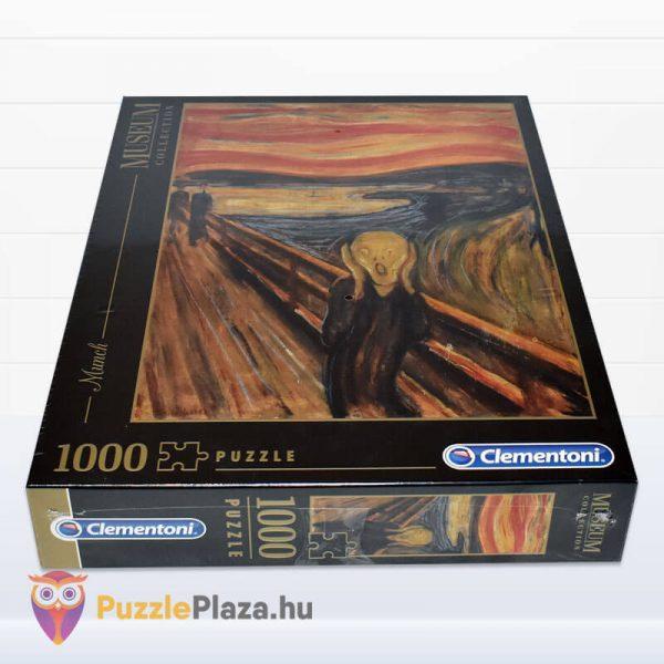 1000 darabos Munch - A Sikoly Puzzle - Clementoni Múzeum Kollekció 39377 fektetve