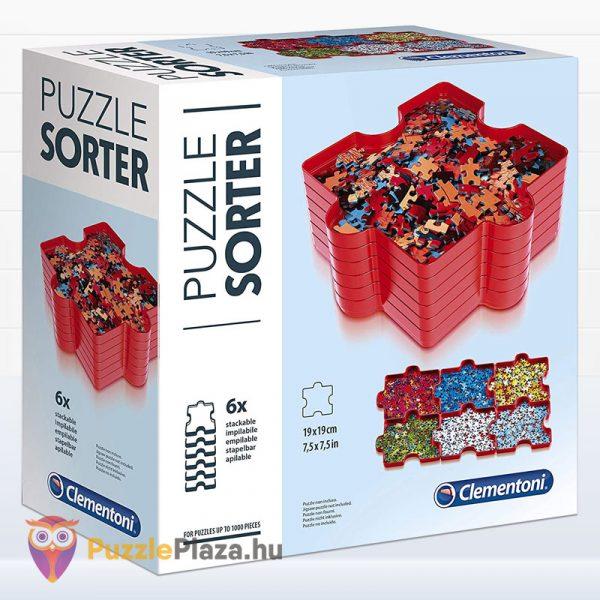 6 darabos piros Clementoni puzzle szortírozó tálca 37040 doboz