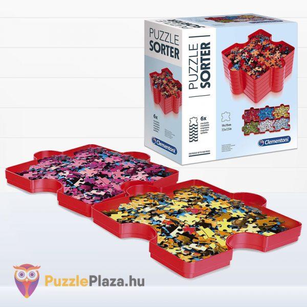 6 darabos piros Clementoni puzzle szortírozó tálca 37040 tálca és doboz