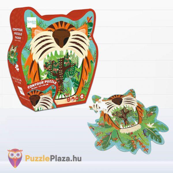 59 darabos tigris forma oktató puzzle - Scratach Europe - kirakott kép és doboza