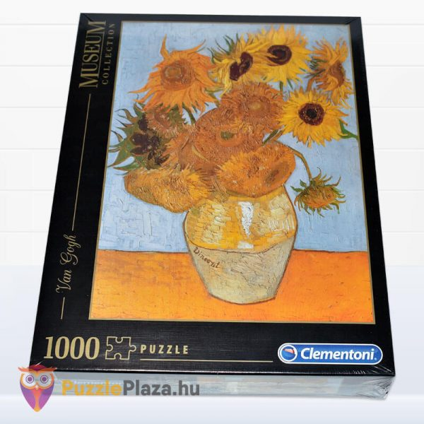 1000 darabos Van Gogh - Napraforgók Puzzle - Clementoni Múzeum Kollekció 31438 fektetve