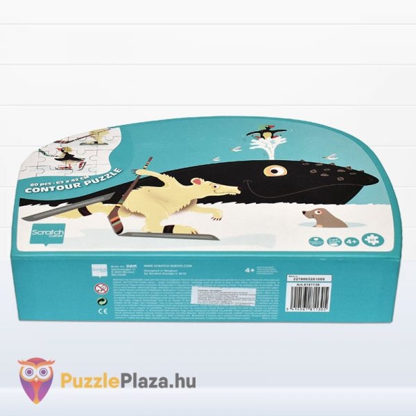 60 darabos bálna forma puzzle - Scratch Europe - fektetve