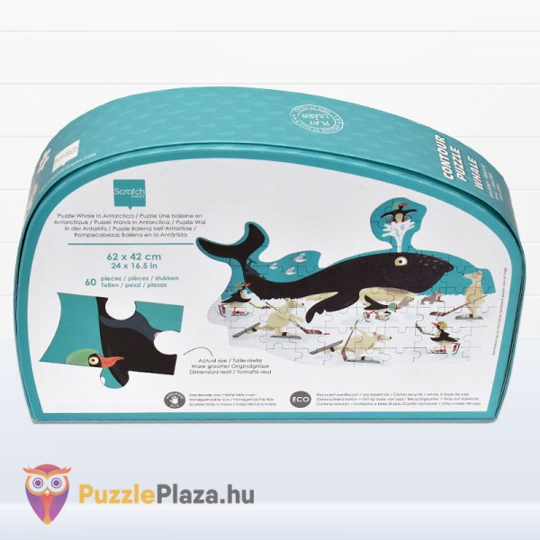 60 darabos bálna forma puzzle - Scratch Europe - hátulról
