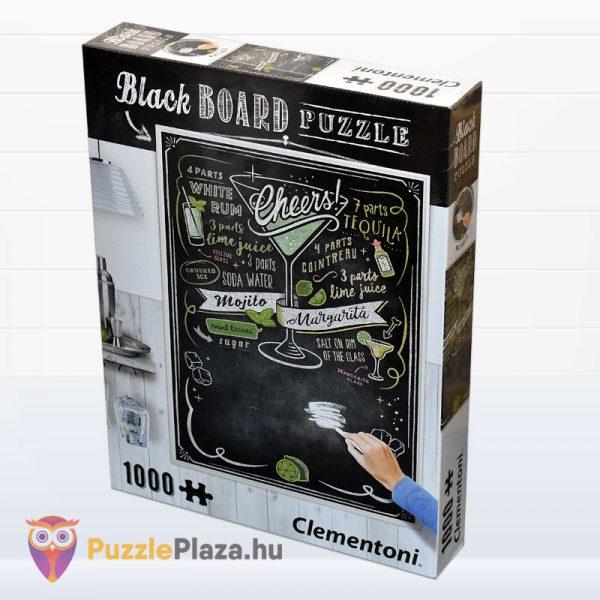 1000 darabos Cheers puzzle - Clementoni Black Board Puzzle 39467 oldalról