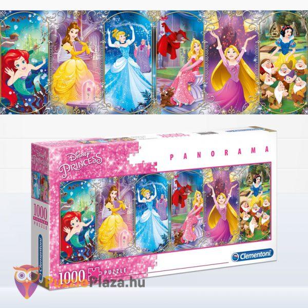 1000 darabos Disney Princess (hercegnők) - Clementoni 39444 kirakott képe és doboza