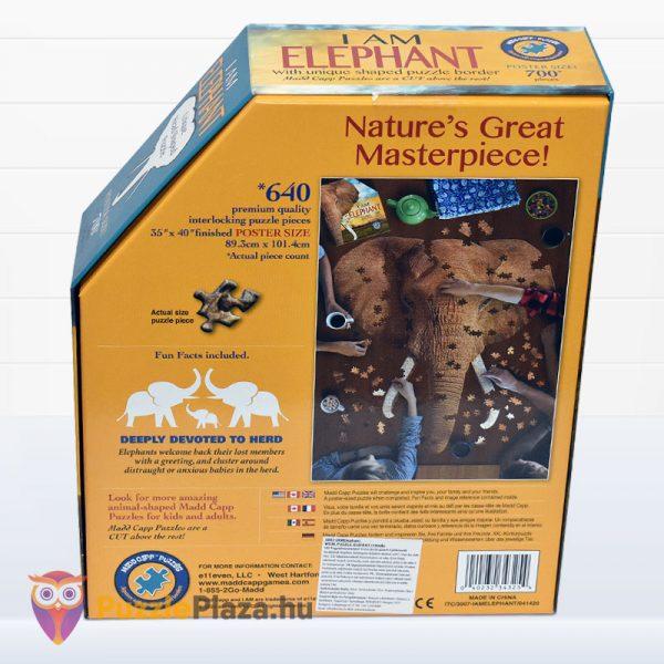 700 darabos elefánt forma puzzle, Wow Toys hátulról