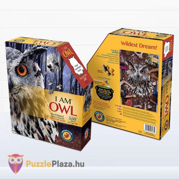 550 darabos élethű bagoly puzzle - Wow Toys doboza előről, hátulról