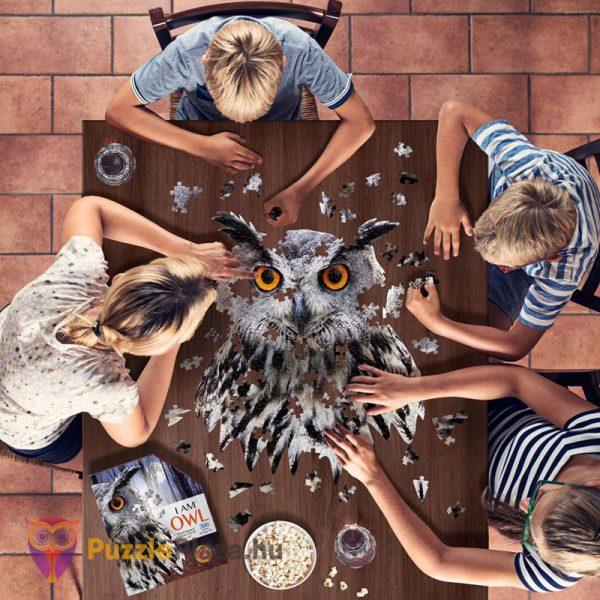 550 darabos élethű bagoly puzzle - Wow Toys kirakózás az asztalon